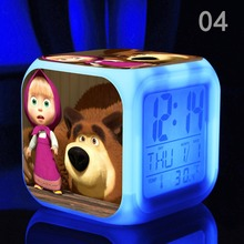 Masha and Bear Wholesale New  Digital  LED 7 Colors Changed  MashaBear Thermometer Night Action & Toy Figures