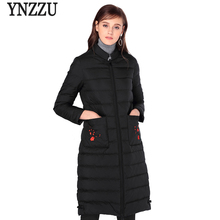 YNZZU Chinese Style Elegant Women Winter Down Jacket Floral Embroidery Pockets Stand Collar Duck Down Coat High Quality AO357(China)