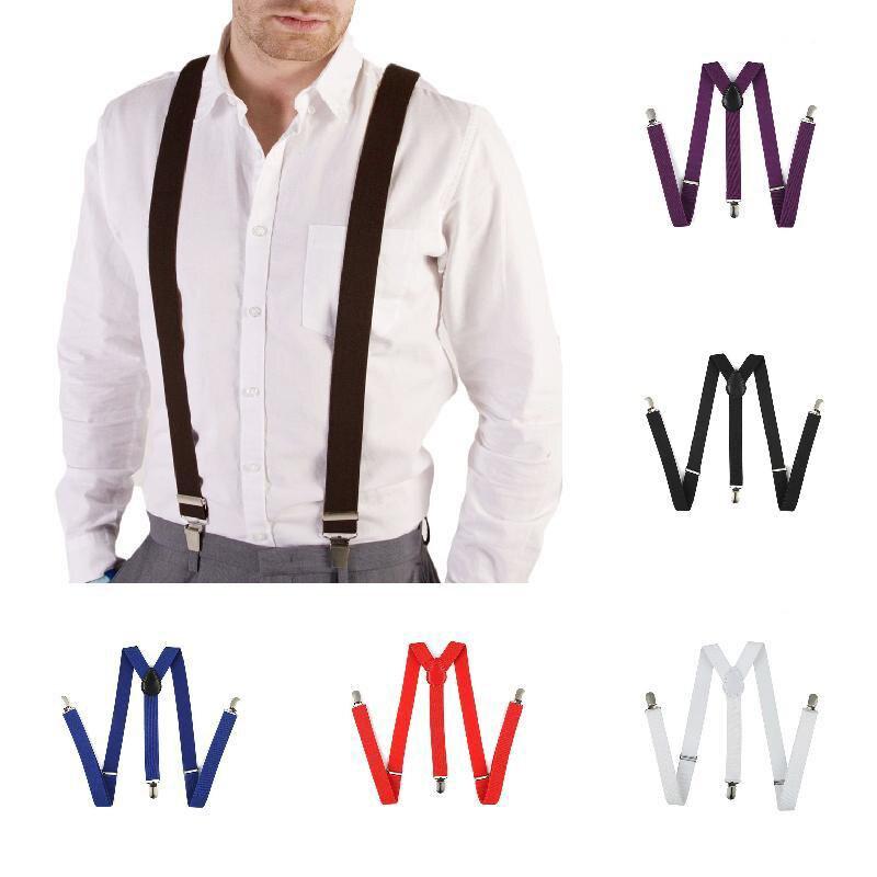 New Unisex Mens Womens Adjustable Clip-on Suspenders Elastic Y-Shape Braces JF