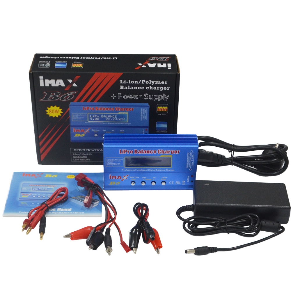 iMAX B6 80W with AC Adapter 15V 6A Power Supply RC Lipo Battery Balance Charger Discharger 50W B6 &amp; 12V 5A adapter Optional<br>
