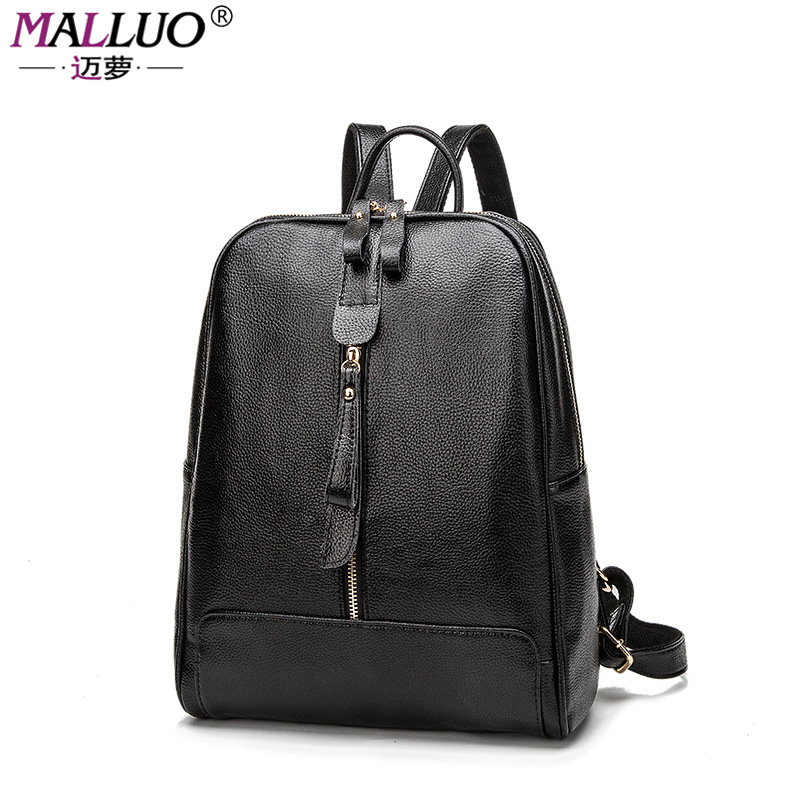 MALLUO Backpack Women Backpacks For Teenage Girls School Bags Black Genuine Leather Vintage Backpack Mochilas Mujer New Arrive<br><br>Aliexpress