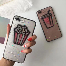 Shinny 3D Popcorn glitter phone Cases For iphone 7 7Plus Drink cups TPU case for iphone 6 6s 6Plus back cover