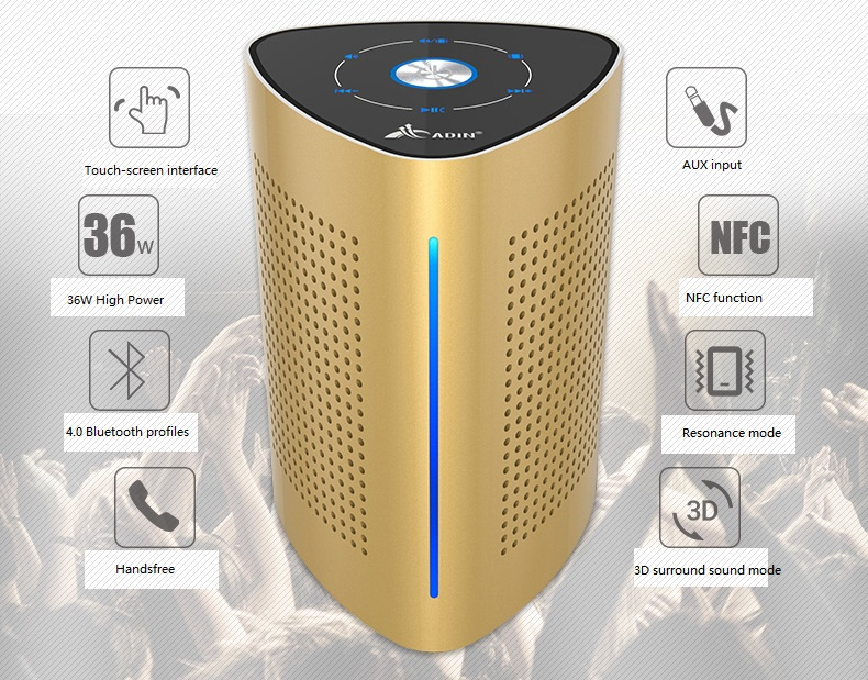 New ADIN V8 Vibration Speaker 36W Bluetooth Speakers Wireless Subwoofer NFC Stereo 3D Surround Touch Computer Phone Speaker (3)
