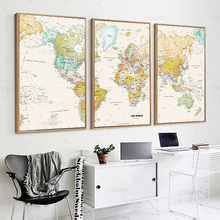3 panel Unique Vintage HD WORLD MAP Canvas Painting Printing Poster Wall Picture Framed Art Home decor For Living Room(China)