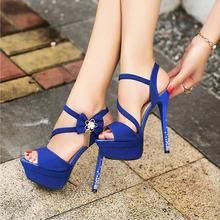 summer tassel thin high heels peep toe pumps with rhinestones platfprm bow cross strap sandals women flowers sexy designer shoes(China)