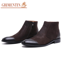 GRIMENTIN Merk winter luxe mode heren enkellaarsjes echt leer zwart bruin schoenen voor wedding business 2017(China)