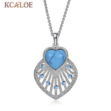 Buy silver pendant blue stone heart and get free shipping on kcaloe silver color heart natural blue stone for women aloadofball Image collections