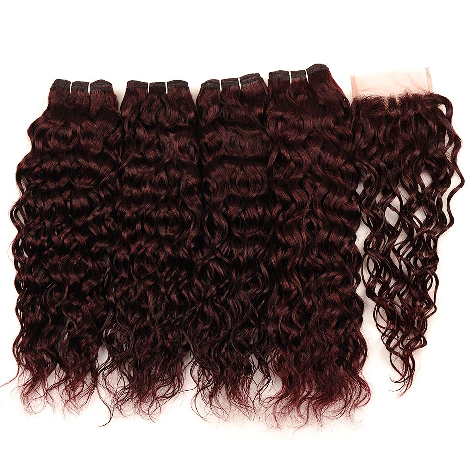 Brazilian Water Wave Hair Burgundy 4 Bundles With Closure Wet Wavy Pinshair Pre-Colored Dark Red Human Hair With Closure NonRemy (78)