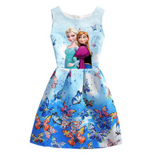 2017 Summer Style Girls Elsa Anna Princess Dresses Girl Butterfly Printed Sleeveless Formal Girl Dresses Teenagers Party Dress(China)