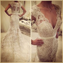 Real Picture Mermaid V-neck Short  Sleeve Lace Overlay Puffy Designer  Description  Mermaid Wedding Dress Patterns
