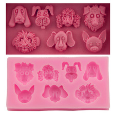 7 kind Animal Dog Family Silicone Fondant Soap 3D Cake Mold Cupcake Jelly Candy Chocolate Decoration Baking Tool Moulds FQ1743