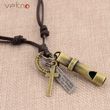 VEKNO Double Layer PU Leather Letter & Cross Whistle Pendant Necklaces Collier Cuir Vintage Friendship Necklaces Jewelry