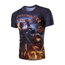 2017 new summer men's urban fashion T-shirt Personality 3D (skulls spark) pattern casual O-Neck short sleeved Fancy slim t shirt