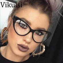 2017 New Sexy Cat Eye Optical Glasses Women Transparent Eyewear Brand Designer Vintage Clear Eyeglasses Optical Frame oculos(China)
