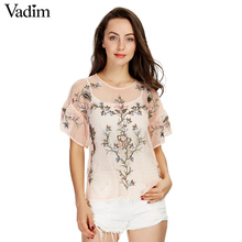 Women sexy flower embroidery ruffles mesh shirts see through transparent short sleeve blouse ladies casual tops blusas DT992(China)