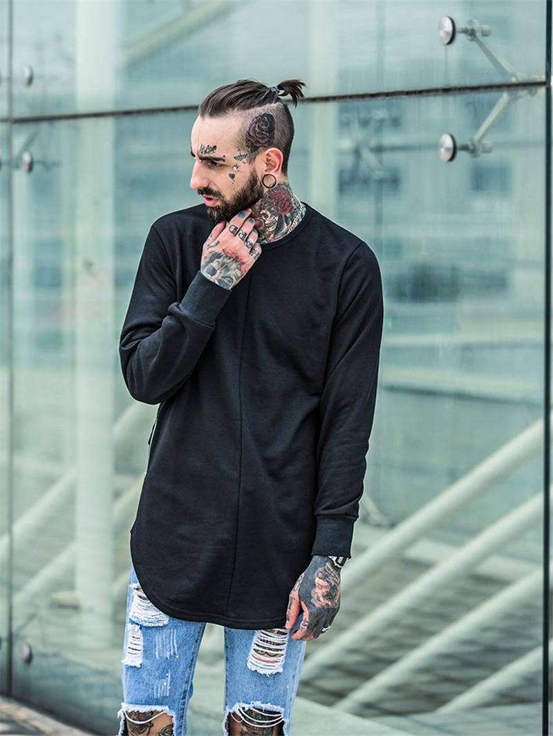 Cross Printed Hip Hop Sweatshirt Men 17Spring Streetwear Curved Hem Side Zipper Plain Mens Sweatshirts and Hoodies Man Clothes 4