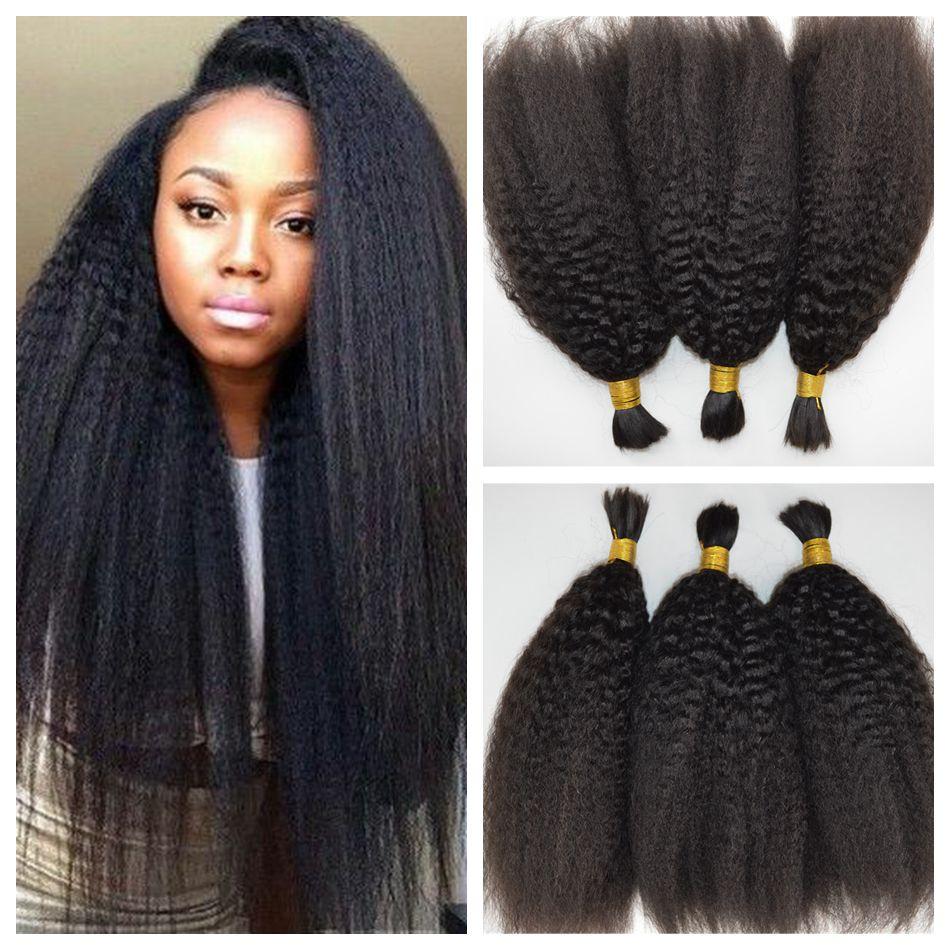 3pcs Lot Virgin Brazilian Kinky Straight Human Bulk Hair For Braiding Unprocessed Coarse Yaki Bundles Crochet Hair Extensions<br><br>Aliexpress