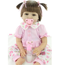 "High Quality Simulation Babydoll 22"" Imported Synthetics Wigs Doll Silicone Vinyl Toys Soft Cotton Body Kids Birthday Present"