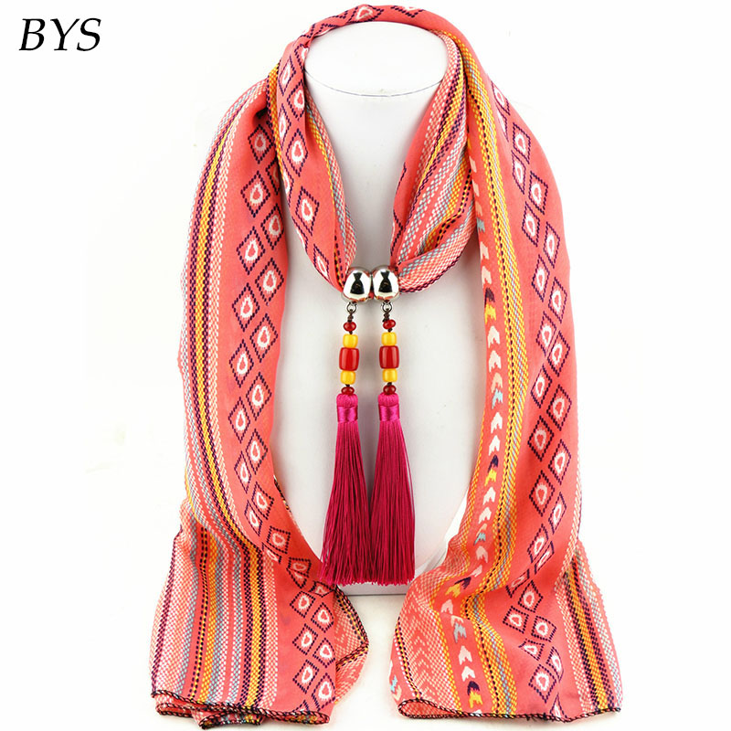 2016 New Fashion Winter Warm Scarf Women Charms Scarf Alloy Hearts Drop Pendant Jewelry Scarves Necklace Scarf