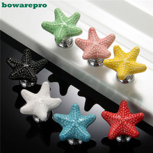 Starfish Style Ceramic Door Knob Room Children Cupboard Cabinet Drawer Suitable Kitchen Furniture Home Pull Handle 1pcs(China)