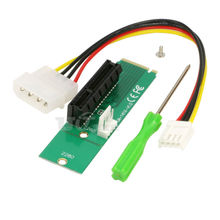 M2 to PCI-e 4x Slot Card Adapter NGFF (M.2) M Key Male to PCI Express x4 Slot Converter with Power Cable (2piece/lot)