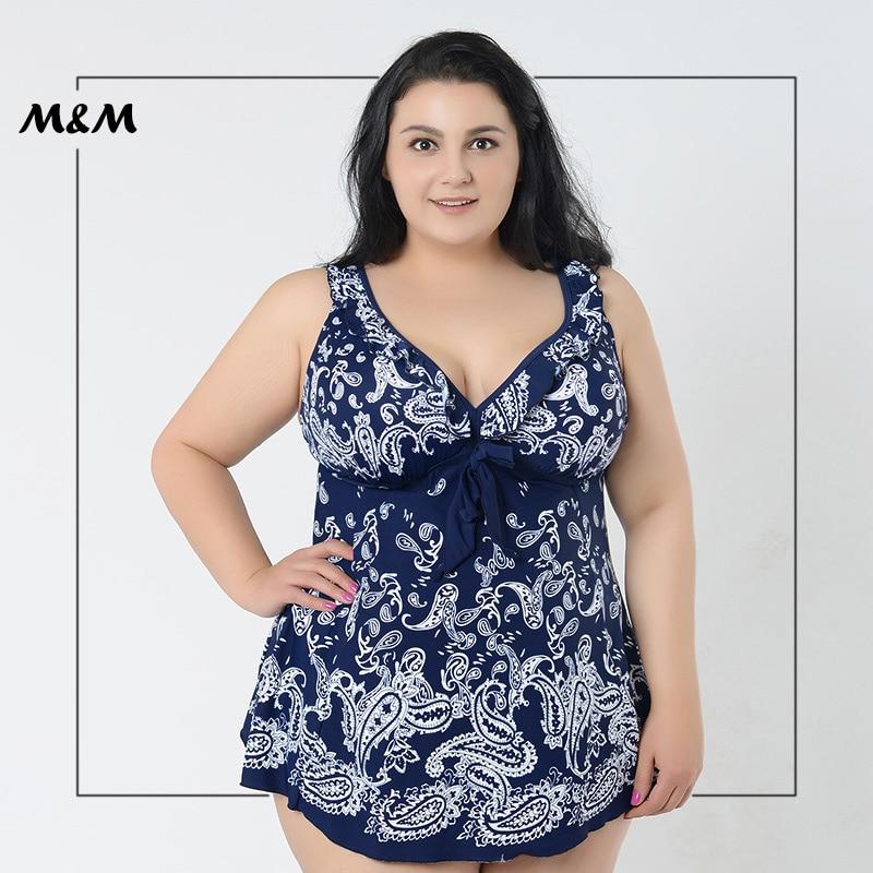 M&amp;M Gather Plus Size One-Piece Swimsuit Women Chest Knot Bandage Flower Print Skirt Big Size Beach Dress Large Size Swim Wear<br>