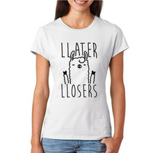 Buy Later Losers Llama T-shirt Women Fashion Harajuku Tumblr Women Clothing Hipster Slogan Print Tops Funny Graphic Tee Shirt Femme for $7.89 in AliExpress store