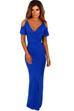 sexy Casual long gown Homecoming Gorgeous Bohemian woman Maxi Deep V neck Cobalt Blue Cold Shoulder Long Jersey Dress 61546-5