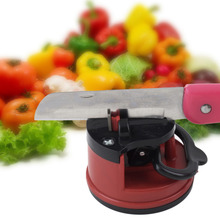 1pc Red Knife Sharpener Scissors Grinder Secure Suction Chef Pad Kitchen Sharpening Tool Plastic Sharpener for Knives(China)