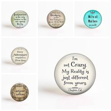 I'm Not Crazy Cheshire Cat Quote Alice In Wonderland Handmade Pendant Glass Cabochon Jewelry Accessories