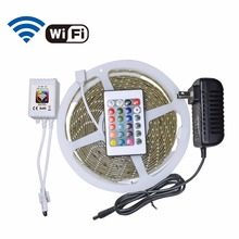 5m SMD3528 RGB LED Strip 60Leds/m WIFI RGB LED controller 24keys IR Control Remote 12V 2A Power Adapter Waterproof led strip kit(China)