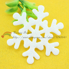 100pcs BIG 63mm Glitter White Snowflakes Appliques Pre-cut Felt Fabric Snow Flakes Patches for Christmas Decor,Winter Party