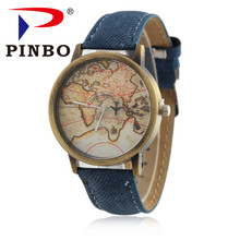 2017 PINBO New Fashion Global Travel By Plane Map Men Women Watches Casual Denim Quartz Watch Casual Sports Watches for Men