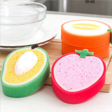 Fruit Shape Thick Sponge Cloth Cute Washing Cloth Towel Non Stick Oil Sponge Kitchen Cleaning Sponge(China)