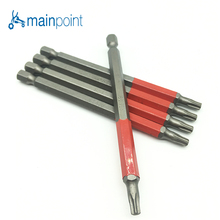 Mainpoint High Quality 5Pc S2 Material Torx Star Screwdriver Bits 100mm length For Electric Tool Accessories T25