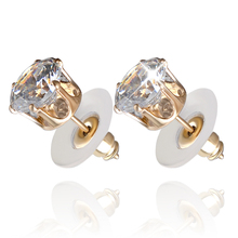Prong Zircon Stud Earrings For Women Simple Round Earrings Fashion Jewelry Trendy Aolly Rush Back Brincos new earring girls gift(China)