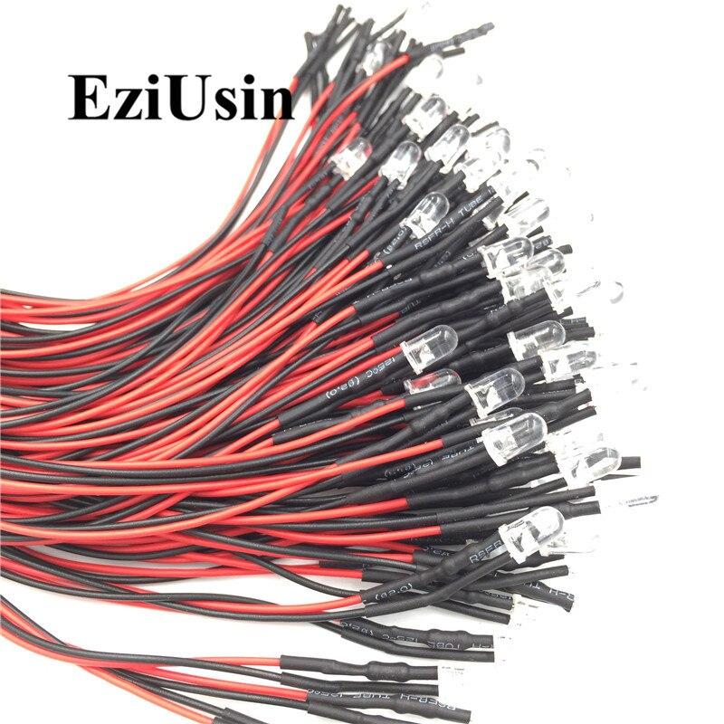 12V DC Intermitente LED Luz Clara 20cm Cable 5mm Soporte diodo emisor precableado