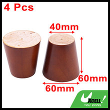 Wood Furniture Closet Table Sofa Legs Replacement Brown 2.4 Inch Height 4 Pcs(China)