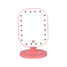 Professional 20 LED Light ABS Touch Screen Makeup Mirror for Women Cosmetic Square Vanity Mirror Desk Stand Makeup Mirror(China)