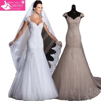 Stunning Vintage White Sweetheart With Cap Sleeves Beaded Pleat Lace Up Mermaid Lace Wedding Dresses Vestido De Renda MTOB1756