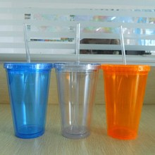 Double wall plastic mug with straw and lid creative insulated milktea mug transparent clear cylindrical plastic tumbler