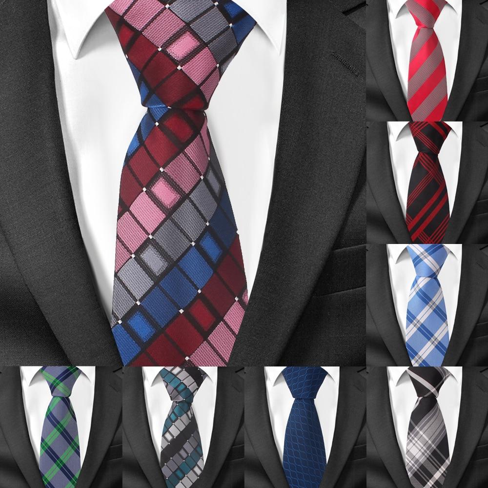 6CM Skinny Ties For Man Slim Silk Necktie Plaids Checks Jacquard For Wedding Tie
