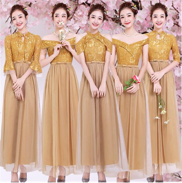 Sweet Memory Half Sleeve Plus Size Gold Bridesmaid Dress Wedding Guests Golden Bridesmaid Dress Size 2 to Size 16 SB1967