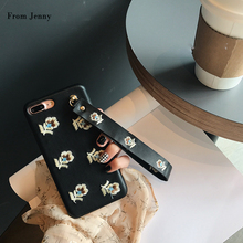 2017 Embroidery Flower Strap PU Cover for iPhone 7 7plus Case for iPhone 6splus 6 6s 6plus with Wrist Strap Japanese Style cases