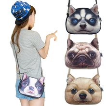 2016 Promotion Oval Zipper Shoulder Bag Dog Shape Women Messenger Bags 3D Animal Printed Cross Body Bags(China)