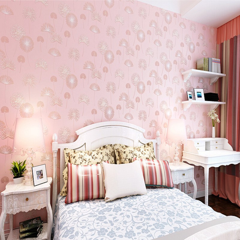 beibehang childrens room pink dandelion wallpaper 3D stereoscopic thick non-woven wallpaper the living room backdrop bedroom<br>