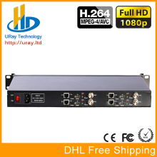 DHL Free Shipping 1U Chassis 4 Channels HDMI + CVBS /Composite + Audio HD Video Encoder H.264 For IPTV, Live Streaming, CCTV