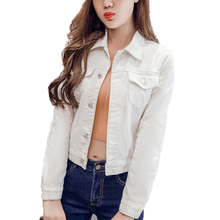 Brand Fashion Jeans Jacket Women 2017 Autumn 2XL XL Spring Hand Brush Long Sleeve Stretch Short Denim Jacket Coat White Black312(China)