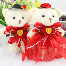 1Pair=2pieces Cute  Bear Shape Stuffed Plush Toys Wedding Decorations Doll Birthday Present Kids Gifts