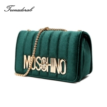 velvet bag woman 2017 handbags ladies famous brands famous female shoulder high quality chain crossbody bags sac a main tote(China)